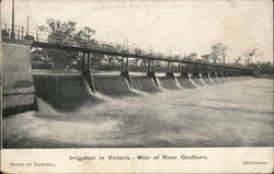 Irrigation in Victoria. Weir of river Goulburn