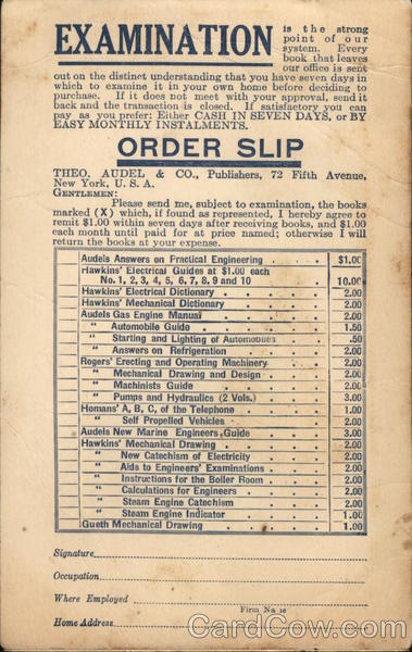 Theodore Audel and Co. Book Order Form Advertising