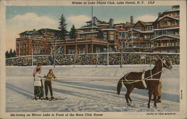 Ski-Joring On Mirror Lake In Front Of Main Club House Lake Placid New York