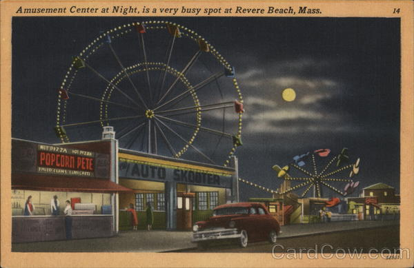 Amusement Center at Night - a very busy spot Revere Beach Massachusetts