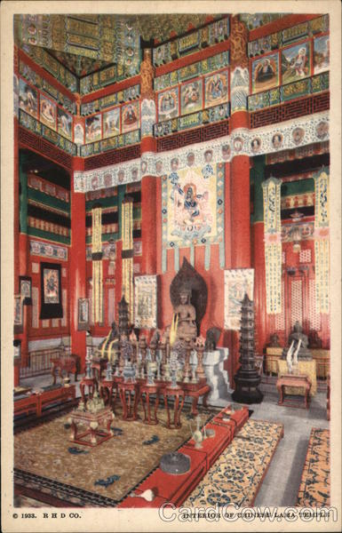 Interior of Chinese Lama Temple 1933 Chicago World Fair