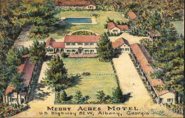Merry Acres Motel Albany GA Postcard