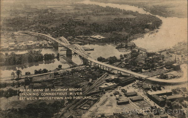 Aerial View of Highway Bridge Spanning Connectiut River Middletown Connecticut
