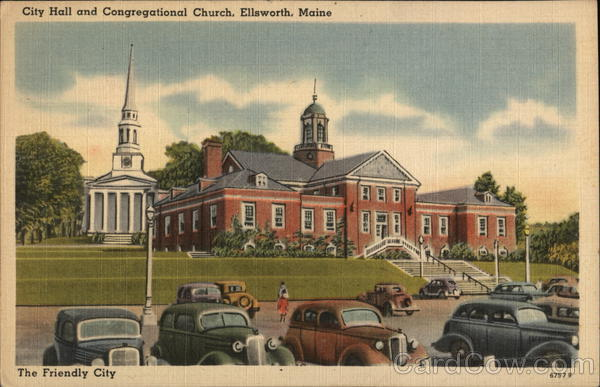 City Hall and Congregational Church Ellsworth Maine