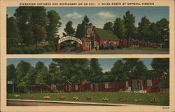 Evergreen Cottages and Restaurant Postcard