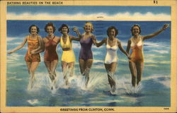 Bathing Beauties on the Beach - Greetings from Clinton, Conn.