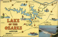 Map of Lake of the Ozarks, MO Postcard