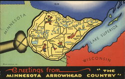 "Map: Greetings from Minnesota Arrowhead, ""The Country"" Postcard"