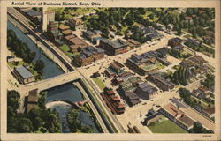Aerial View of Business District Postcard