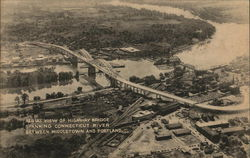 Aerial View of Highway Bridge Spanning Connectiut River