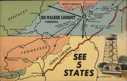 Big Walker Lookout - See 5 States Postcard