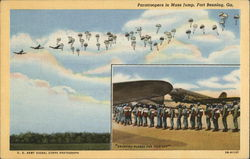 Paratroopers in Mass Jump with Inset of Single-File Line