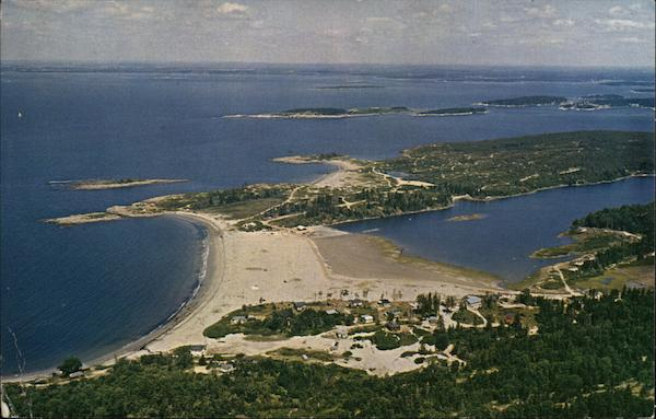 Aerial View of head Beach, the Branch, Hermit Island, and Summer Cottages Small Point Maine