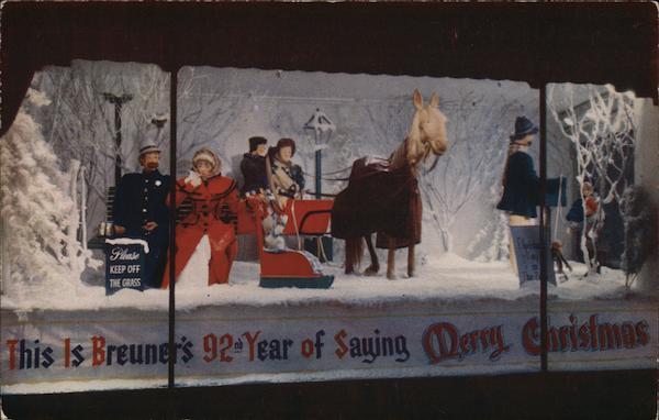 Christmas Window At Breuner's Oakland, CA Postcard