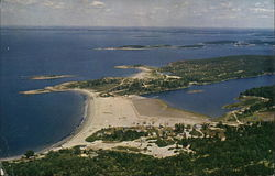 Aerial View of head Beach, the Branch, Hermit Island, and Summer Cottages