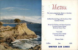 United Air Lines Menu & Lone Cypress Point