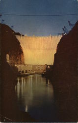 Hoover (Boulder) Dam at night Postcard