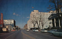 South Main Street - Looking North, showing Elks Club, Marithon Oil. Postcard