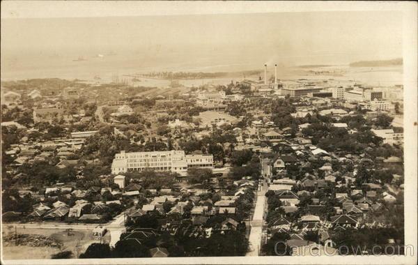 1925 Bird's Eye View of City - US Fleet Honolulu Hawaii