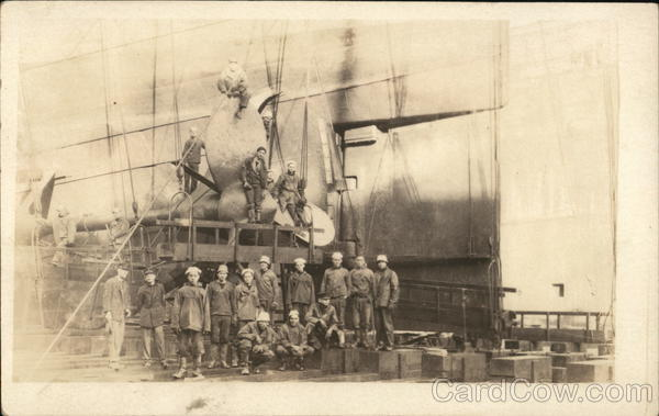 Workers Posing By Ship Propeller Boats, Ships
