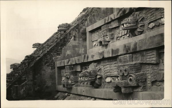 Closeup of Temple of Quetzalcoatl Teotihuacan Mexico