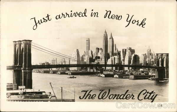 Just Arrived in New York, the Wonder City New York City