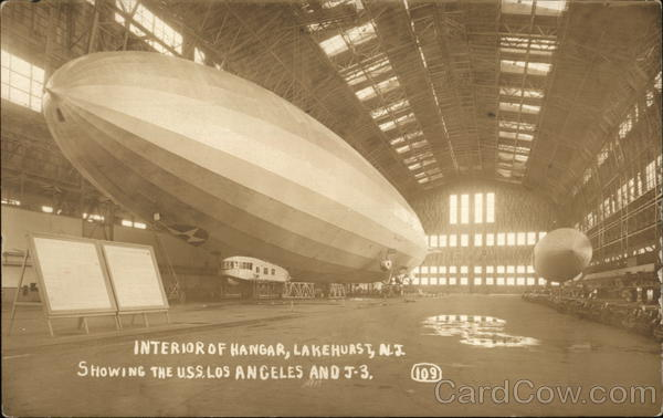 Interior of Hangar-Showing the U.S.S. Los Angeles Lakehurst New Jersey