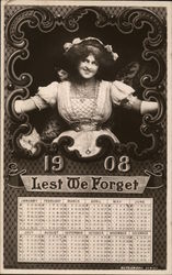 "1908 Calendar With Girl ""Lest We Forget"""