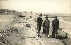 Soldiers Walking the Sea Wall Postcard