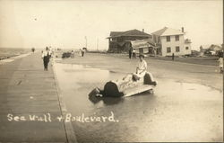 Sea Wall and Boulevard 1915 Postcard