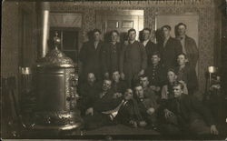 Men Posing by Stove Heater