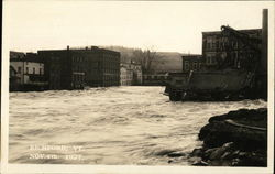 Flooded Street Nov. 4th, 1927 Postcard