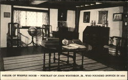 Parlor of Whipple Hpouse with portrait of John Winthrop Jr., Founder of Ipswich in 1634