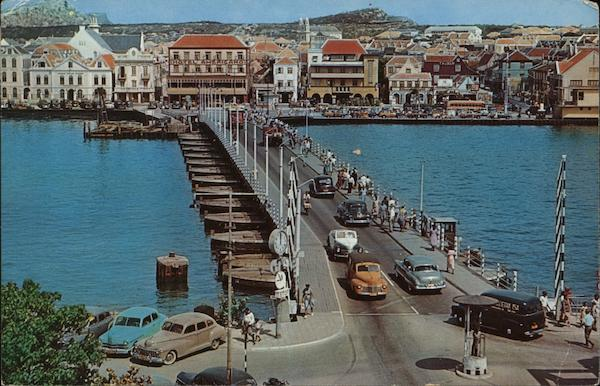 Queen Emma Pontoon Bridge Willemstad Curacao Caribbean Islands