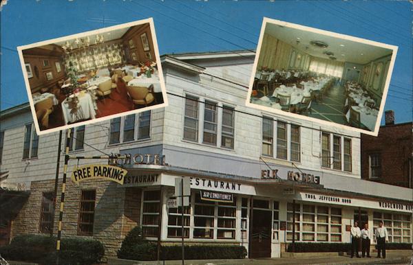 Elk Hotel And Restaurant Port Jefferson Ny Postcard