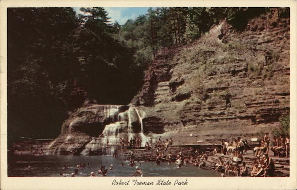 Robert Treman State Park - Swimming Pool and Lower Falls Ithaca New York