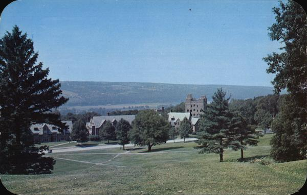 Cornell University - View from Library Slope showing Baker Tower Ithaca New York