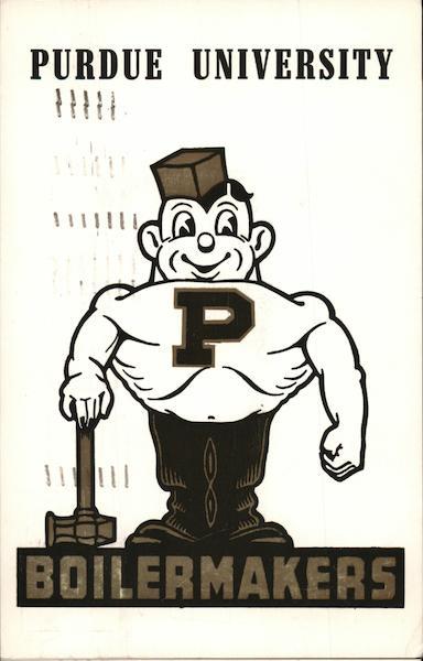 purdue university boilermakers mascot lafayette in postcard