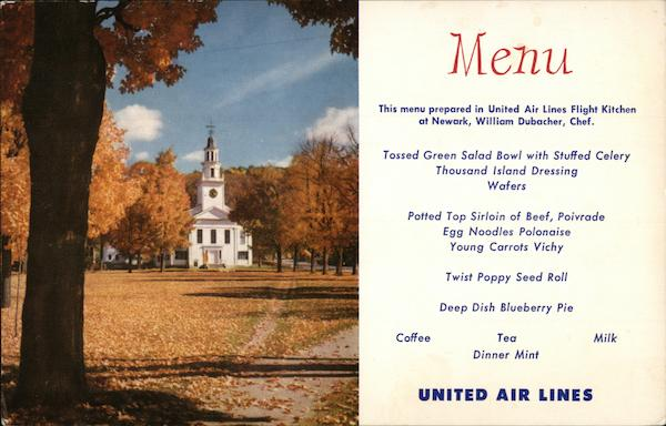 Fall in New England United Airlines Menu Airline Advertising