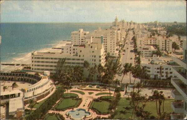 Collins Avenue, Looking South from the Fontainebleau Hotel Miami Beach Florida