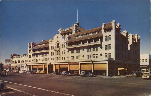 Hotel stockton california postcard for Shirt printing stockton ca