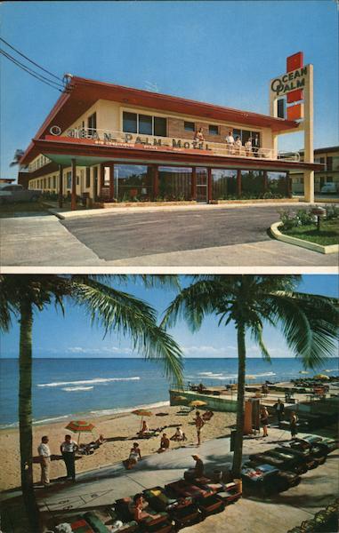 Ocean Palm Motel Miami Beach Fl Postcard