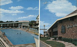 Lamplighter Motor Inn and Hofbrau Haus Restaurant Postcard