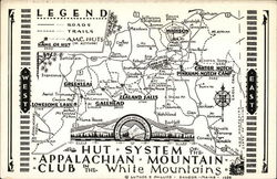 Map of Hut System, Appalachian Mountain Club, White Mountains, NH