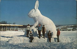 Boyne Mountain Ski Lodge - Ice Sculpture, Skiing Rabbit Postcard