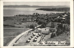 Aerial View of The Hitchin' Post, Guest Home and Cabins Postcard