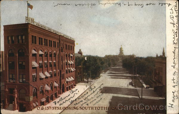 Fifteenth Street, Looking South to the Capitol Lincoln Nebraska