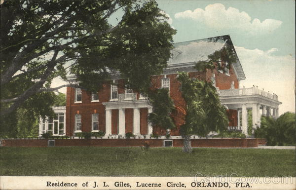 Residence of J. L. Giles, Lucerne Circle Orlando Florida