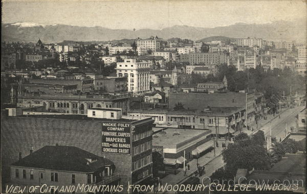 City and Mountains from Windows of Woodbury College Los Angeles California