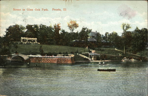 Scene in glen oak park peoria il postcard for Oak glen park